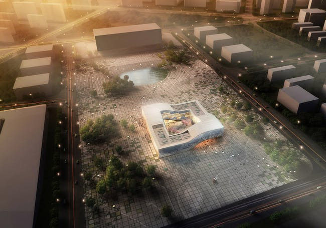Aerial view of the proposed new DQZ Cultural Center in Daqiuzhuang, China (Image: HAO / Holm Architecture Office)