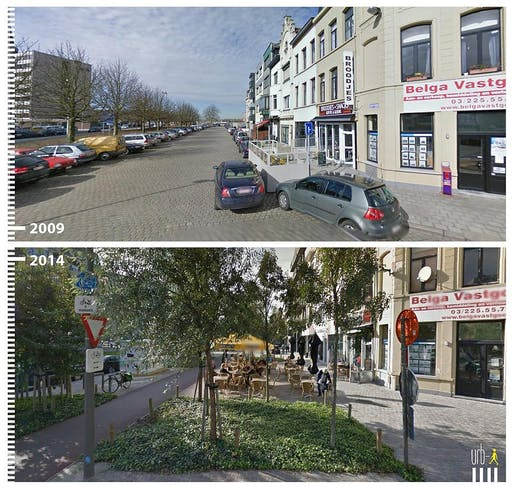 From cars to cafe: Google Street View of Amsterdamstraat, Antwerp, Belgium.