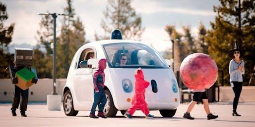 One of Google's driverless cars brakes for Halloweeners. Image via popularmechanics.com.