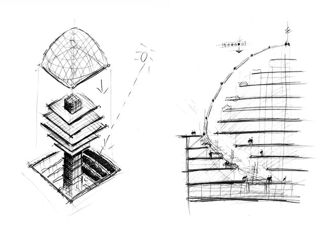 These sketches made during the schematic design phase in spring 1998 suggests that the adapted Climatroffice configuration will create rentable daylit retail space below plaza level. Foster + Partners, 1004 Swiss Re House, 14 May 1998, 1998. Courtesy of Foster + Partners.