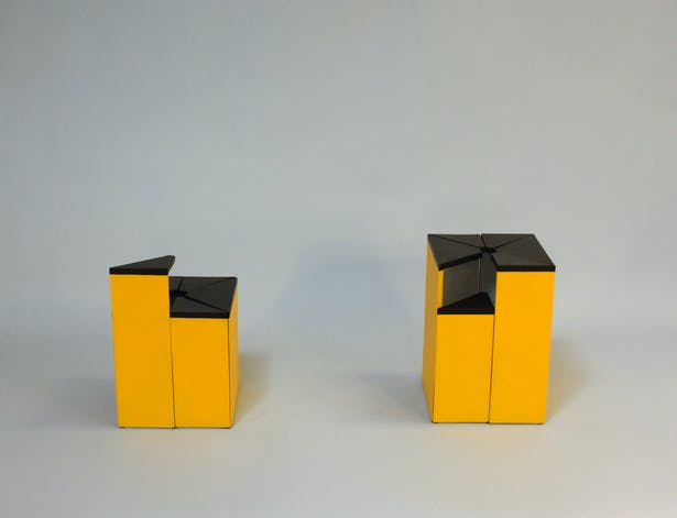 The tall and short segments have now become part of the boxes forming a new space.