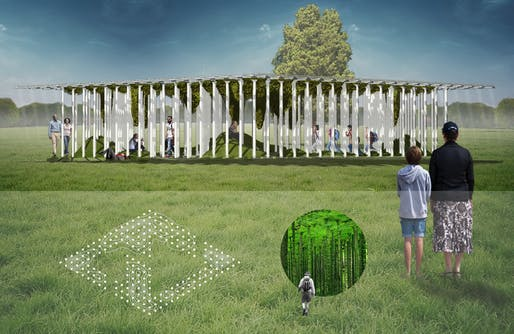 "2018 City of Dreams Pavilion finalist: ​""Mossgrove"" by Sam Biroscak in collaboration with Gina Dyches, Stephanie Borchers, Annick Lang, and Anneli Rice​."