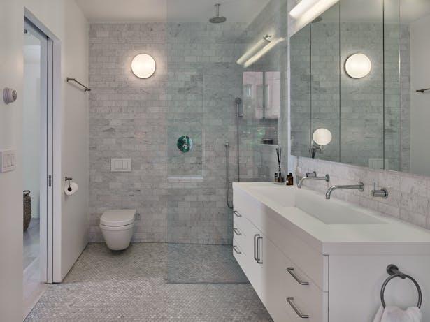 Modern clean lines define this bathroom