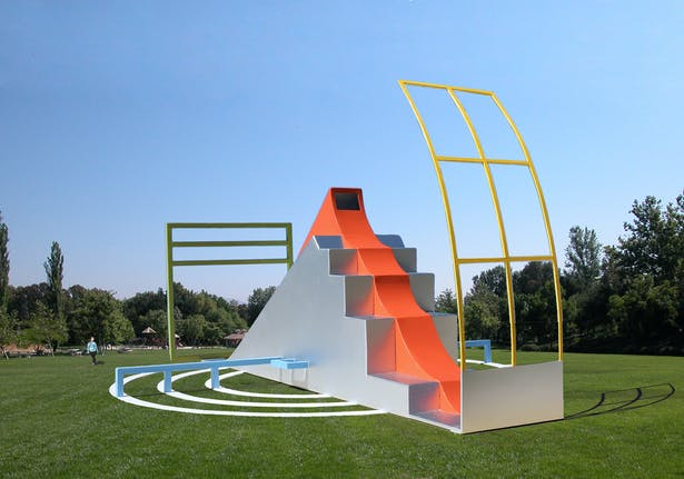Made of painted steel with no declared function.