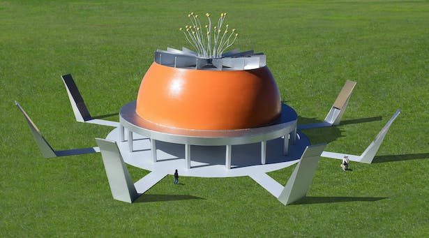 Made of painted steel and concrete with no declared function.