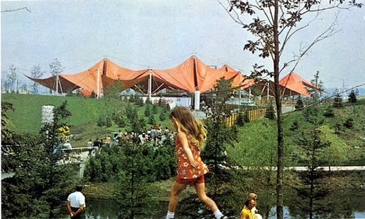"The iconic orange canopy of the Ontario Place Children's Village designed by Canadian designer Eric McMillan. Photo <a href=""https://www.blogto.com/sports_play/2015/04/that_time_when_ontario_place_was_first_rate_amusement/"">via</a>."
