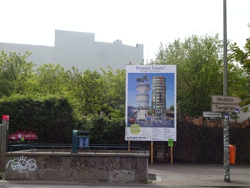 "Princess Towers, billboard in public space, Moritzplatz, Berlin, 2019 by Dorothea Nold. Image: Dorothea Nold/<a href=""http://www.aussenwelt.net"">aussenwelt</a>"