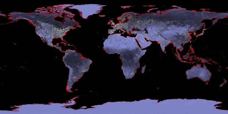 A map of the Earth with a 6-meter sea level rise (affected areas marked in red). Image via wikimedia.org