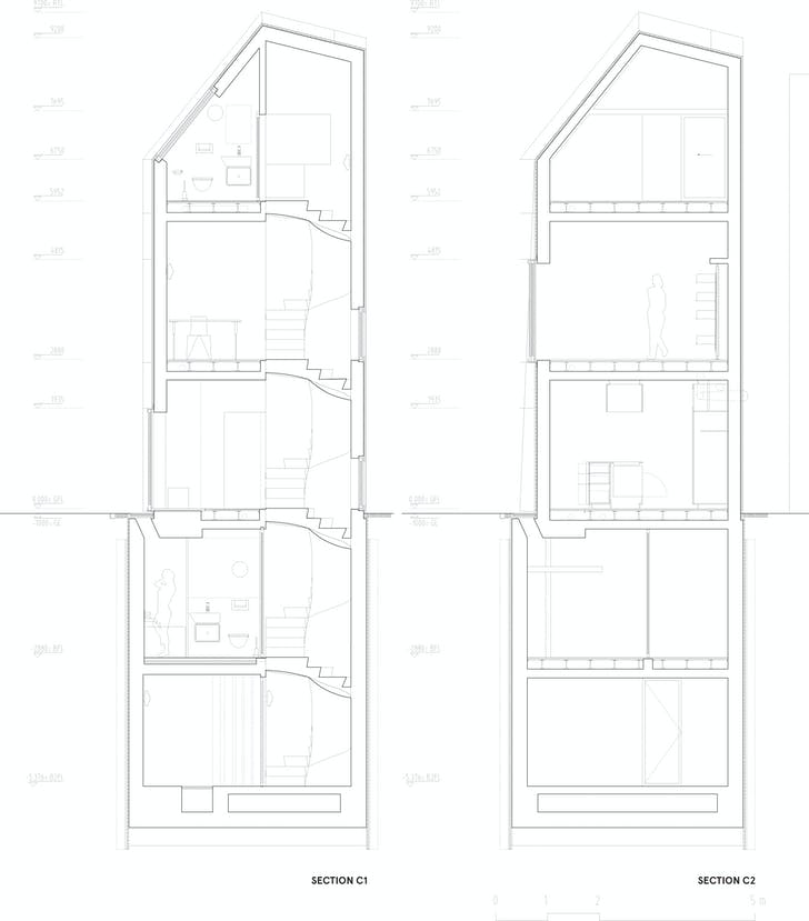 Section C1-C2, courtesy of Wiel Arets Architects (WAA)