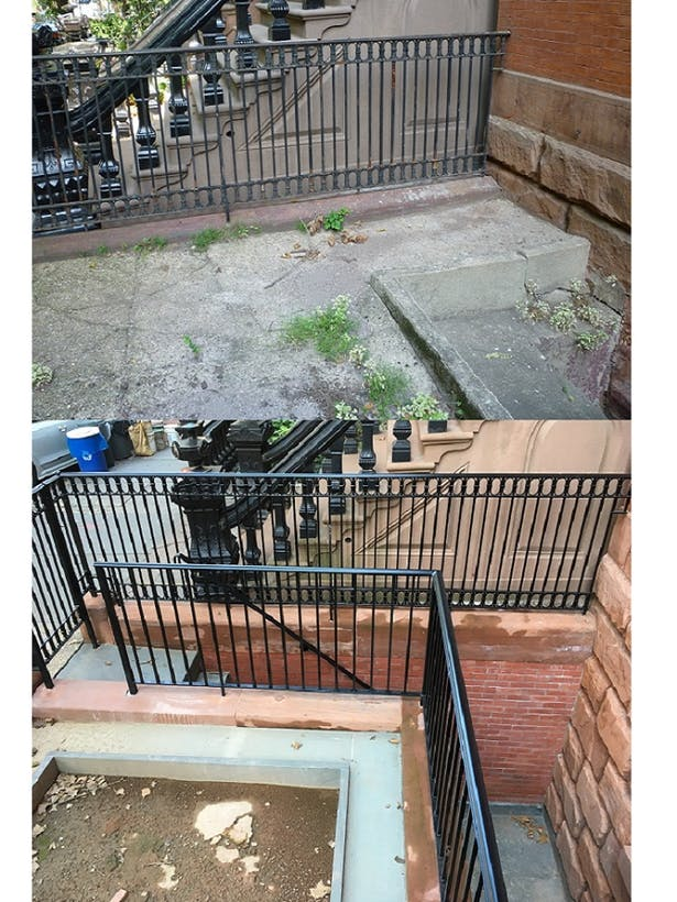 Existing front yard and original cellar star excavation and restoration