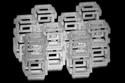 MIT engineers have devised a way to create 3-D nanoscale objects by patterning a larger structure with a laser and then shrinking it. This image shows a complex structure prior to shrinking. Image: Daniel Oran.