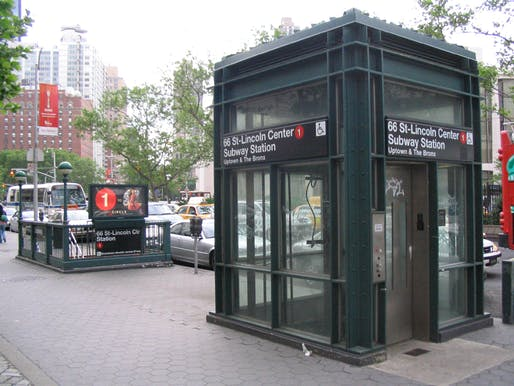 Street elevator serving as an entrance to the underground 66th Street–Lincoln Center station. (Wikipedia)