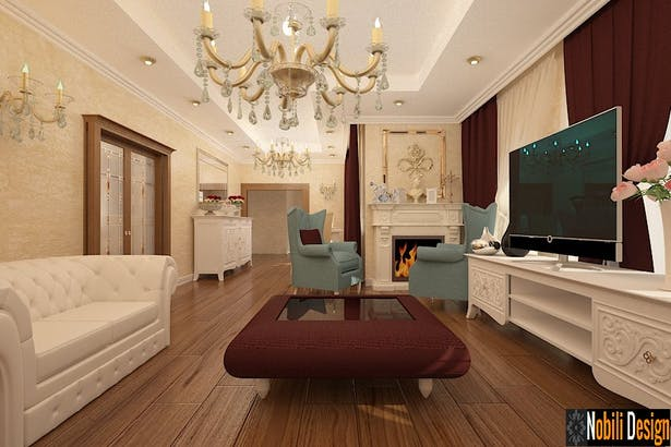 Interior design of a classic living room in a luxurious house-Nobili Interior Design