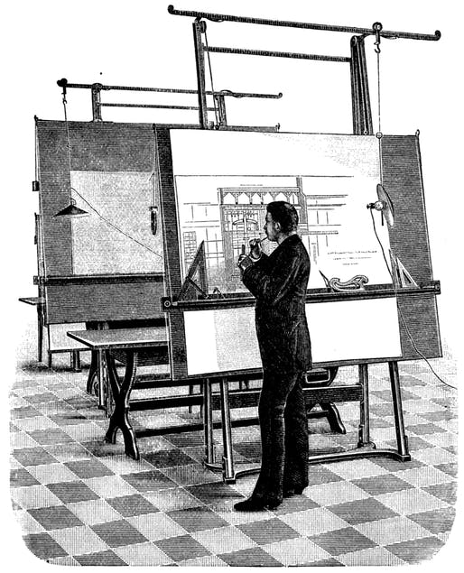 """Architect"" by Anonymous (or is he an ""Intern Architect?""). From an 1893 technical journal, now in the public domain. Scanned in 600 dpi by Lars Aronsson, 2005. Image via Wikipedia."