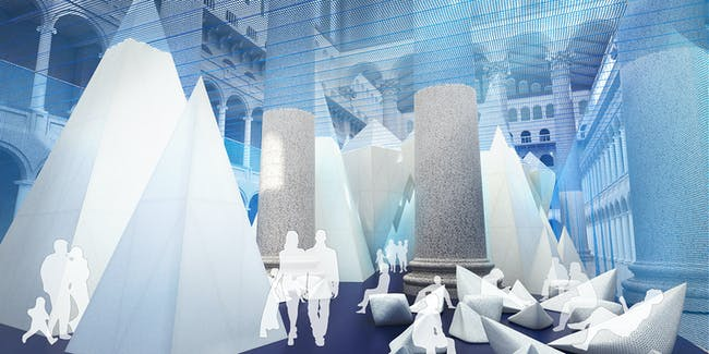 ICEBERGS - lounge. Rendering by James Corner Field Operations, courtesy National Building Museum.