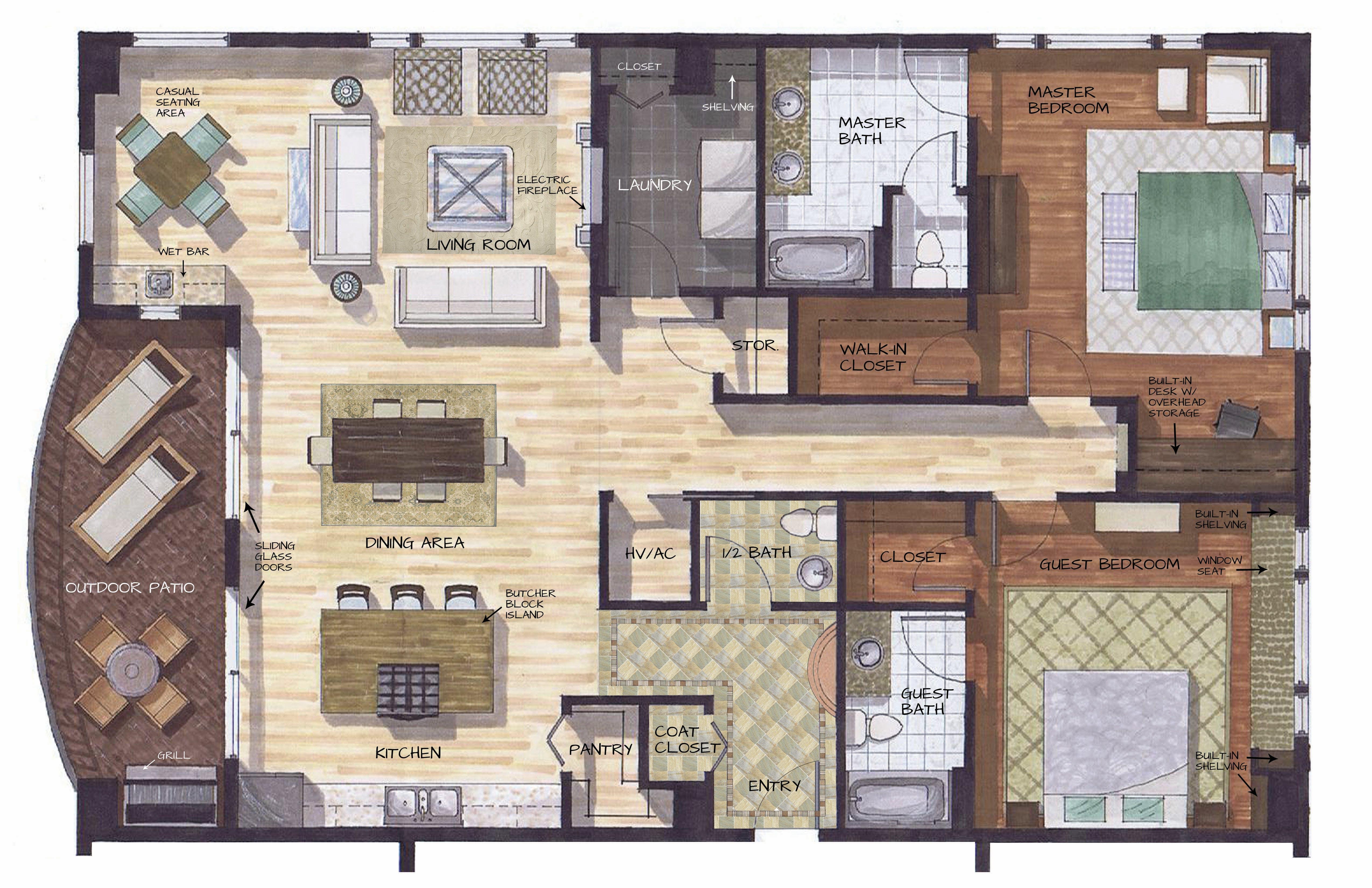 House Of Blues Floor Plan Penthouse Apartment Lori Touchton Archinect