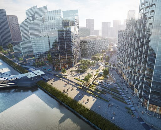 "East Riverfront of ""The Tide"" on Greenwich Peninsula. Image courtesy of Diller Scofidio + Renfro."