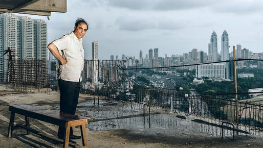 Hafeez Contractor high above Mumbai in a current project, the Minerva, with his Imperial Towers in the distance to the right. (Credit: Mahesh Shantaram for The New York Times)