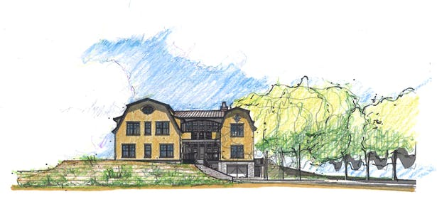 Street Elevation Design Rendering; Revit with Hand-rendering