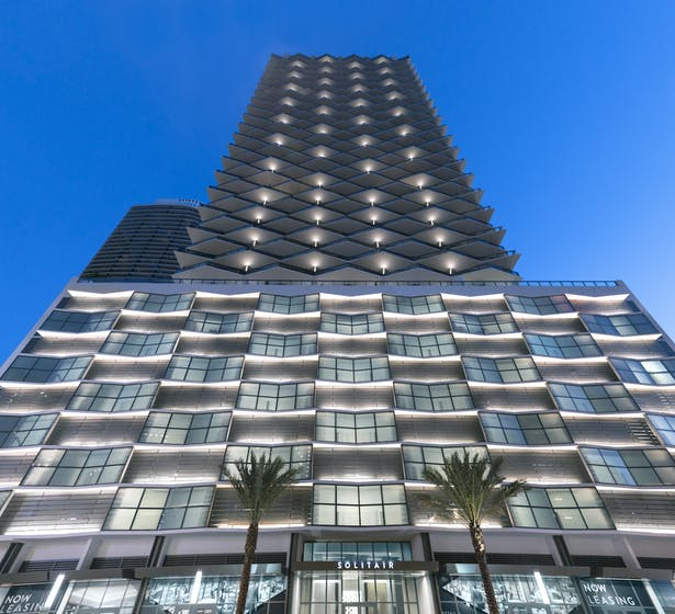 Featuring a striking façade, the 50-story Solitair Brickell designed by Stantec distinguishes itself with a unique angular, towering basket-weave design inspired by the majestic Medjool date palm tree.