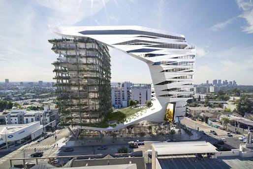 Rendering of the proposed 8850 Sunset Boulevard development. Image: Kilograph/Morphosis.