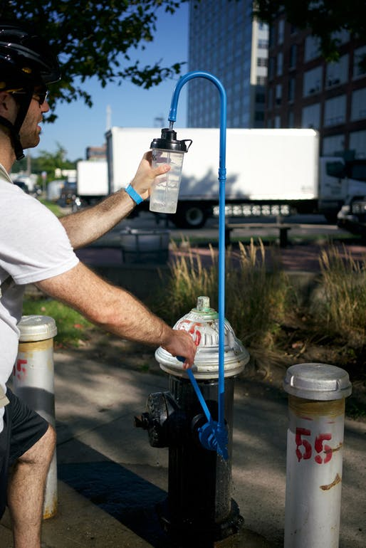 """Hydrant on Tap"", one of the New Public Hydrant prototypes. Photo: Tei Carpenter/Christopher Woebken, via Urban Omnibus."