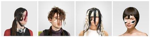 "Examples of CV dazzle makeup from Adam Harvey's ""Look Book."" Image via atlantic.com"
