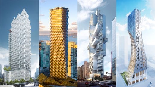 Some of these designs by Gregory Henriquez, Bjarke Ingels, Ole Scheeren and Kengo Kuma for newly proposed Vancouver condo towers (or in the case of BIG, already under construction), are getting the city's hopes up for a more exciting architecture. (Image via cbc.ca)