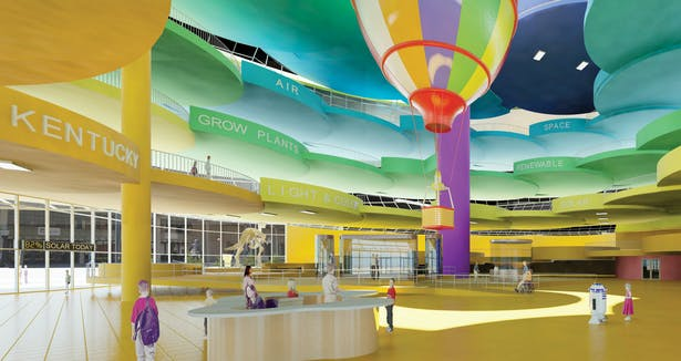 Louisville Children's Museum proposal's interior lobby with spiral ring of cloudlike platforms.