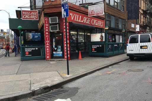 Location of the triangle, outside the Village Cigars shop and the Christopher Street station of the New York City Subway.