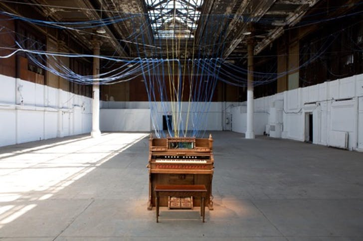 Installation view, 'Playing the Building', Battery Maritime Building, New York, NY, 2008. Image via davidbyrne.com.