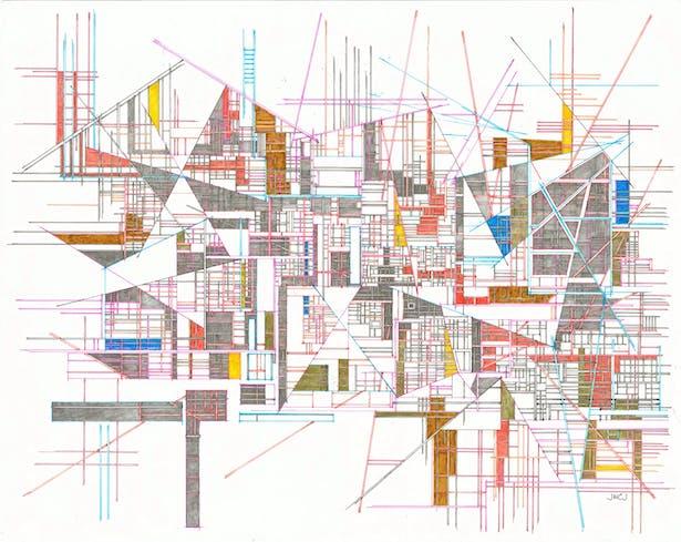 """soul, hiding 2019-005 19"""" x 24"""" pencil, ink, color pencil on paper"""
