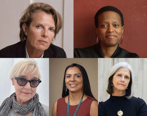 2021 Women in Architecture Award Winners. (Top Row L-R) Annabelle Selldorf and Amanda Williams. (Bottom Row L-R) Julie Bargmann, Tamarah Begay, and Deborah Berke.