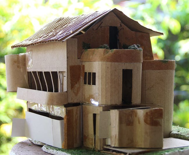 model for house designed for the artists, Segar (Probably the last house architectured by Minnette. Model done by Minnette's assistant Ms Pasqual) via Rajasegar Wikimedia