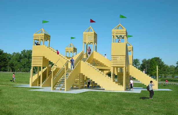 The Stair-scape, a public functional art structure that people climb on to inspire good health and at the same time, promote positive public gatherings.