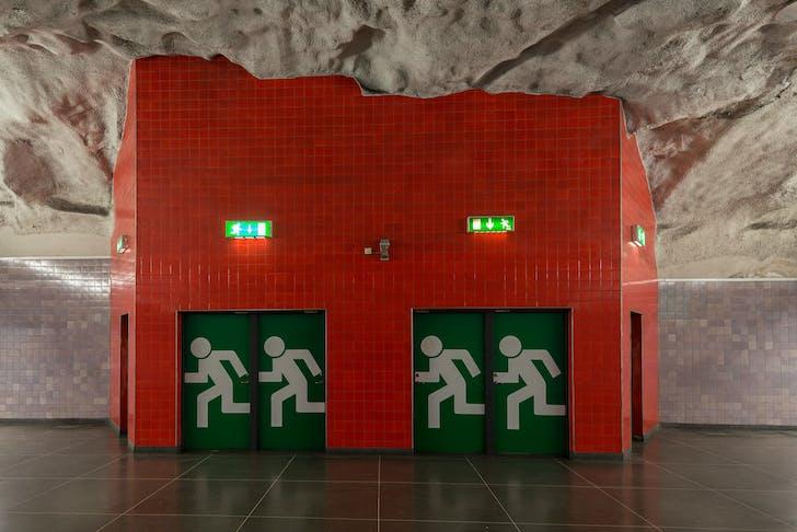 Emergency exit in Universitetet metro station in Stockholm, Photo by Arild Vågen