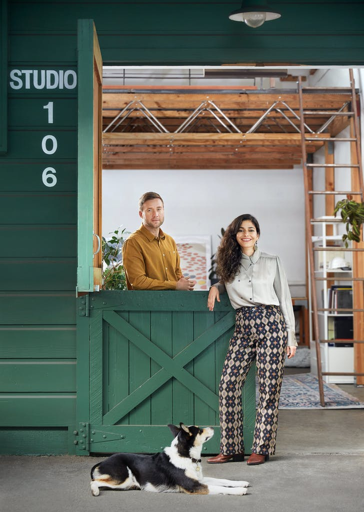 Studio BANAA founding partners Nastaran Mousavi and Dane Bunton, at their new studio space, a converted horse stable in San Francisco's Mission District. Photo: Katja Bresch. All images courtesy of Studio BANAA.