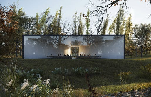 Contemporary Funerary Center by HofmanDujardin. Rendering: VEROVisuals.