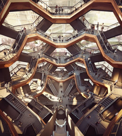 Rendering of Heatherwick's Vessel. Credit: Forbes Massie-Heatherwick Studio