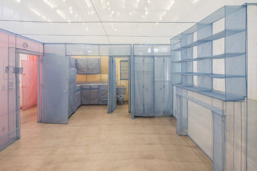 Do Ho Suh, Apartment A, Unit 2, Corridor and Staircase, 348 West 22nd Street, New York, NY 10011, USA (detail), 2011-2014, Polyester fabric and stainless steel tubes, Apartment A, 271 2/3 x 169 3/10 x 96 7/16 in. Unit 2, 422 7/16 x 228 1/3 x 96 1/16 in. Corridor and Staircase, 488 3/16 x 66 1/8 x 96 7/16 in. Installation view, Museum of Contemporary Art San Diego, 2016. © Do Ho Suh. Photo courtesy the artist and Lehmann Maupin, New York and Hong Kong, by Pablo Mason.