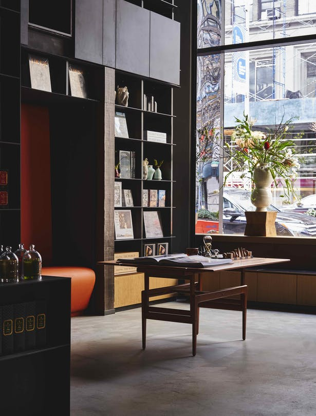 Fotografiska New York's dynamic lobby, which combines retail with a café and wine bar.