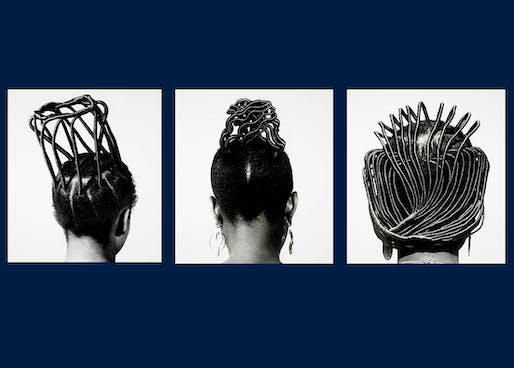 """""""Suko Sinero Kiko, from the series Hairstyles,"""" by J.D. Okhai Ojeikere, 1974, printed 2013. Gelatin silver print 60x50 cm. The Museum of Fine Arts, Houston. Museum purchase funded by the Caroline Wiess Law Accessions Endowment Fund, 2019.413.7. IMAGE: J.D. OKHAI OJEIKERE / COURTESY GALLERY FIFTY ONE"""