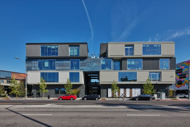 The iconic Boxcar building welcomes guests, tenants, and community members to this dynamic new neighborhood.