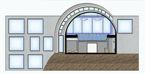 Section drawn in CAD rendered in Photoshop