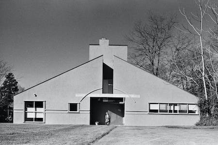 Vanna Venturi House (Rollin LaFrance). Reportedly, Robert Venturi chose to paint the house green after hearing Marcel Breuer say he never uses the color on houses, 'because that's the color of nature, and you never do that.'​ Image courtesy of VSBA.