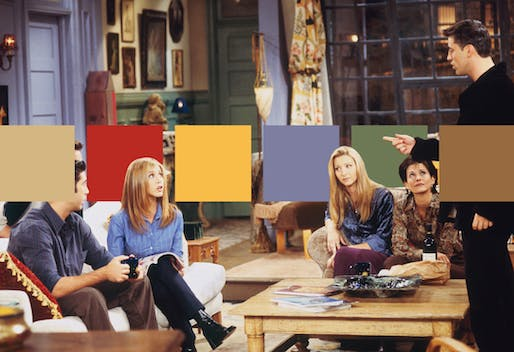 Monica's living room color palette from 'Friends'. © Neomam Studios