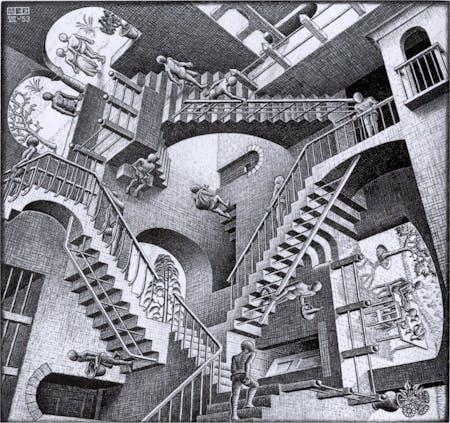 Relativity, by M. C. Escher. Lithograph, 1953.