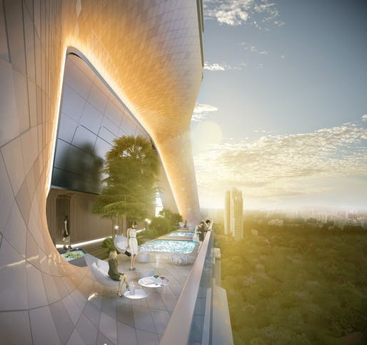Rendering of the UNStudio-designed The Scotts Tower in Singapore: view of the Sky Terrace with pool (Image: UNStudio)