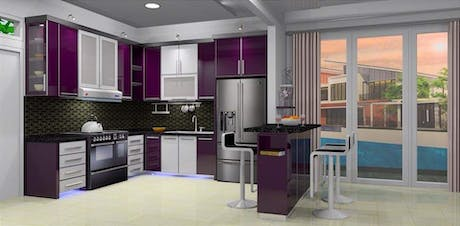 Seamless purple design Modern kitchen. Design process spqce planning always make the project look realistic color texture and random color hue. Their is barely any such real design outlook a purple kitchen cabinet design is some step on how designer can create custom kitchen layout or customer sure have different tastes and then outcome or their home interior a area in the house that is always visited more often during all time of the day so lighting will be very critical I woused MR-16 agree...