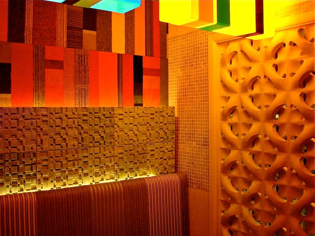 Berber textiles inspired the acrylic lighting and wall installations.
